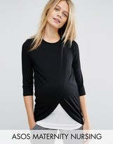 ASOS Maternity - Nursing ASOS Maternity NURSING Top With Wrap Overlay and Long Sleeve