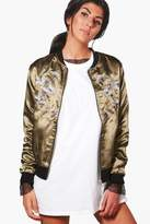 boohoo Jessica Bird Embroidered Bomber Jacket khaki