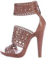 Alaia Laser Cut Ankle Strap Sandals
