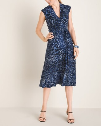 London Times Blue Leopard-Print Dress