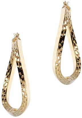 "Veronese 18K Clad 1-1/2"" Knife-Edge Wavy Hoop Earrings"