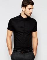 Asos Skinny Shirt In Black With Short Sleeves