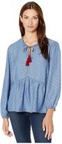 Tribal Long Sleeve Blouse w/ Tassels (Ruby) Women's Clothing