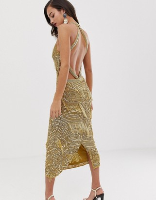 Asos Edition EDITION sequin fringe cutout bodycon midi dress-Gold