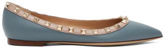 Valentino Blue and Pink Garavani Rockstud Ballerina Flats