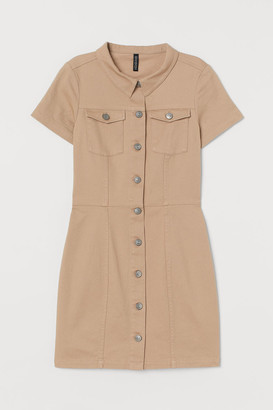H&M Fitted Twill Dress - Beige