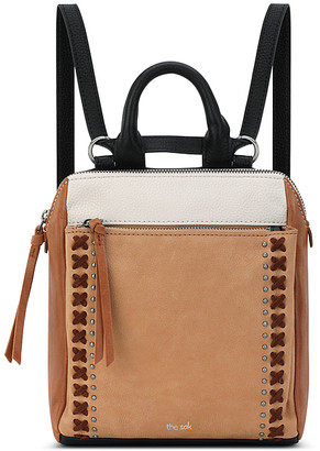 The Sak Women's Backpacks Neutral - Tan Color Block Loyola Mini Convertible Leather Backpack