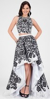 Terani Couture Damask Printed High-Low Prom Dress