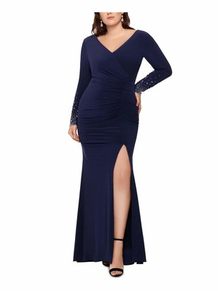 Xscape Evenings Womens Navy Beaded Sleeve Long Sleeve V Neck Full-Length Fit + Flare Formal Dress Plus US Size: 14W