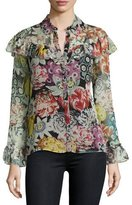Burberry Hazel Long-Sleeve Floral-Print Frill Blouse, Black