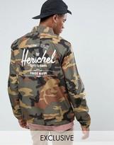 Herschel Voyage Packable Coach Jacket Back Logo Print in Woodland Camo UK EXCLUSIVE