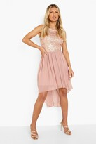 boohoo Jess Sequin Top Open Back Chiffon Dip Hem Dress blush