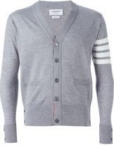 Thom Browne V-Neck Cardigan With 4-Bar Stripe In Light Grey Merino