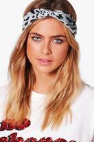 boohoo Keira Snake Print Turban Headband grey