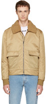 MSGM Brown Shearling Collar Bomber Jacket