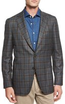 Isaia Windowpane Two-Button Sport Coat, Green