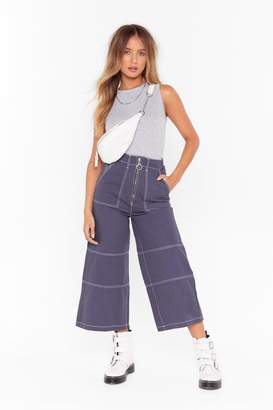 Nasty Gal Womens contrast stitch wide leg zip up culottes - navy - 10