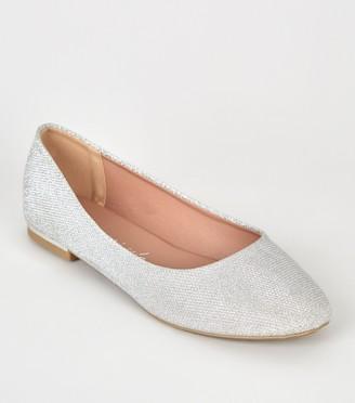 New Look Wide Fit Glitter Ballet Pumps