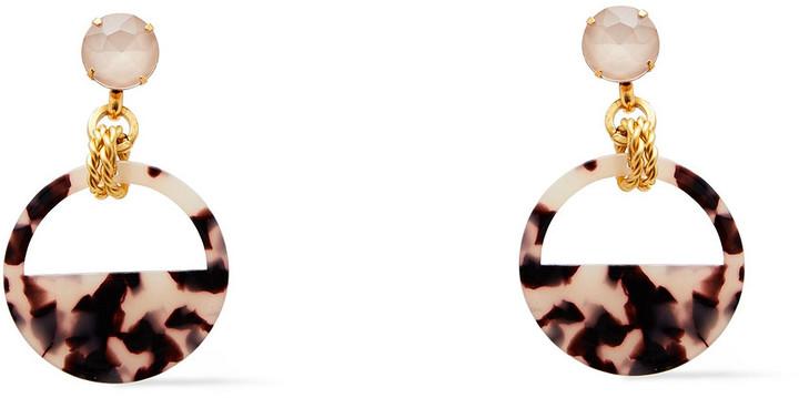 Elizabeth Cole 24-karat Gold-plated, Crystal And Tortoiseshell Acetate Earrings