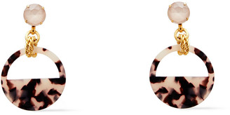 Elizabeth Cole 24-karat Gold-plated, Crystal And Tortoiseshell Acetate Earrings