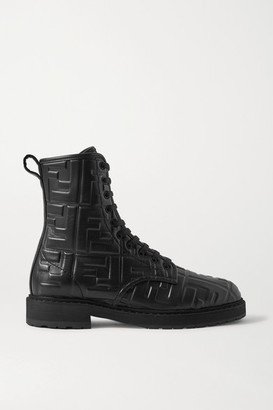 Fendi Logo-embossed Leather Ankle Boots - Black