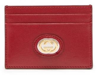 Gucci Logo-plaque Grained-leather Cardholder - Burgundy