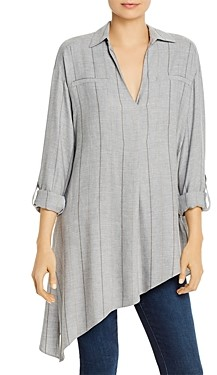 b new york Striped Asymmetric Hem Top