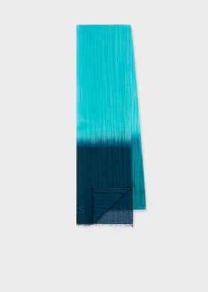 Men's Turquoise And Navy Dip Dye Cotton And Silk-Blend Scarf