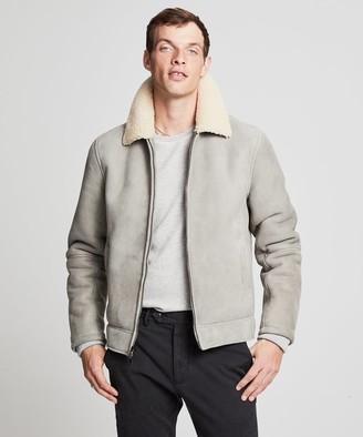 Todd Snyder Shearling Aviator Jacket in Grey