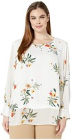 Vince Camuto Specialty Size Plus Size Long Sleeve Surreal Garden Chiffon Mix Media Blouse (Pearl Ivory) Women's Clothing