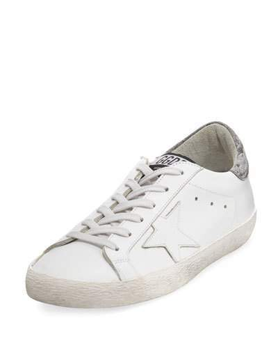 Golden Goose Glittered Leather Low-Top Sneakers