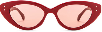 Alaia Cat Eye Sunglasses in Shiny Red & Nude   FWRD