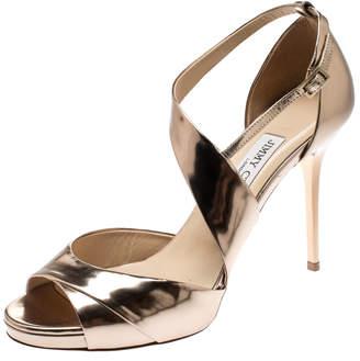 Jimmy Choo Metallic Bronze Leather Cross Ankle Strap Sandals Size 38.5