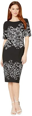 Adrianna Papell Blooming Trellis Printed Knit Crepe Sheath Dress (Black Multi) Women's Dress