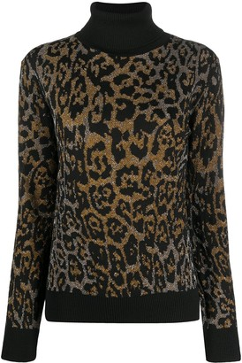 Just Cavalli Roll Neck Leopard Print Jumper