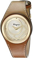 Salvatore Ferragamo Women's FID020015 Gancino Chic Ion-Plated Stainless Steel Watch with Two-Tone Genuine Leather Strap