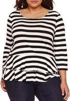 Boutique + Boutique+ 3/4-Sleeve Peplum Knit Top - Plus