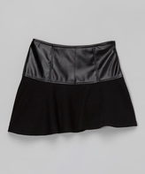 Black Faux Leather-Panel Skirt - Girls
