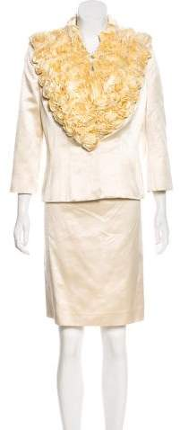 Alexander McQueen Silk Embellished Skirt Suit
