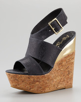 Alice + Olivia Steffie Leather Cork Wedge Sandal