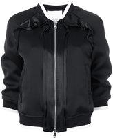 3.1 Phillip Lim Ruffle-trim bomber jacket - women - Silk/Polyester/Spandex/Elastane/Viscose - 6