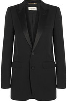 Saint Laurent Satin-trimmed Wool Tuxedo Blazer - Black