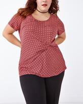 Penningtons Short Sleeve Printed Top With Front Knot