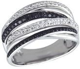 Effy Jewelry Effy Caviar 14K White Gold Black and White Diamond Ring, 0.56 TCW