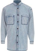 River Island Mens Blue acid wash oversized denim shirt