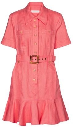Zimmermann Poppy belted linen minidress