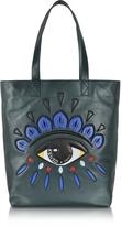 Kenzo Dark Green Leather Eye Tote Bag