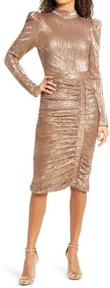 Lavish Alice Open Back Long Sleeve Sequin Cocktail Dress