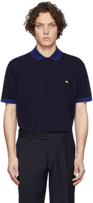 Etro Navy Knit Logo Polo