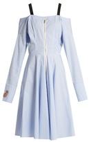 Natasha Zinko Striped off-the-shoulder cotton-blend dress
